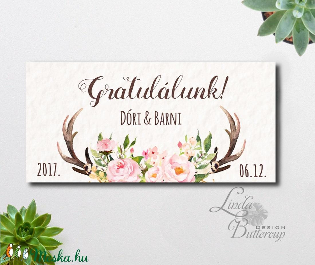 esküvői köszöntő lapok Agancsos ajándék, Pénzátadó boríték, agancs,őszi esküvő  esküvői köszöntő lapok