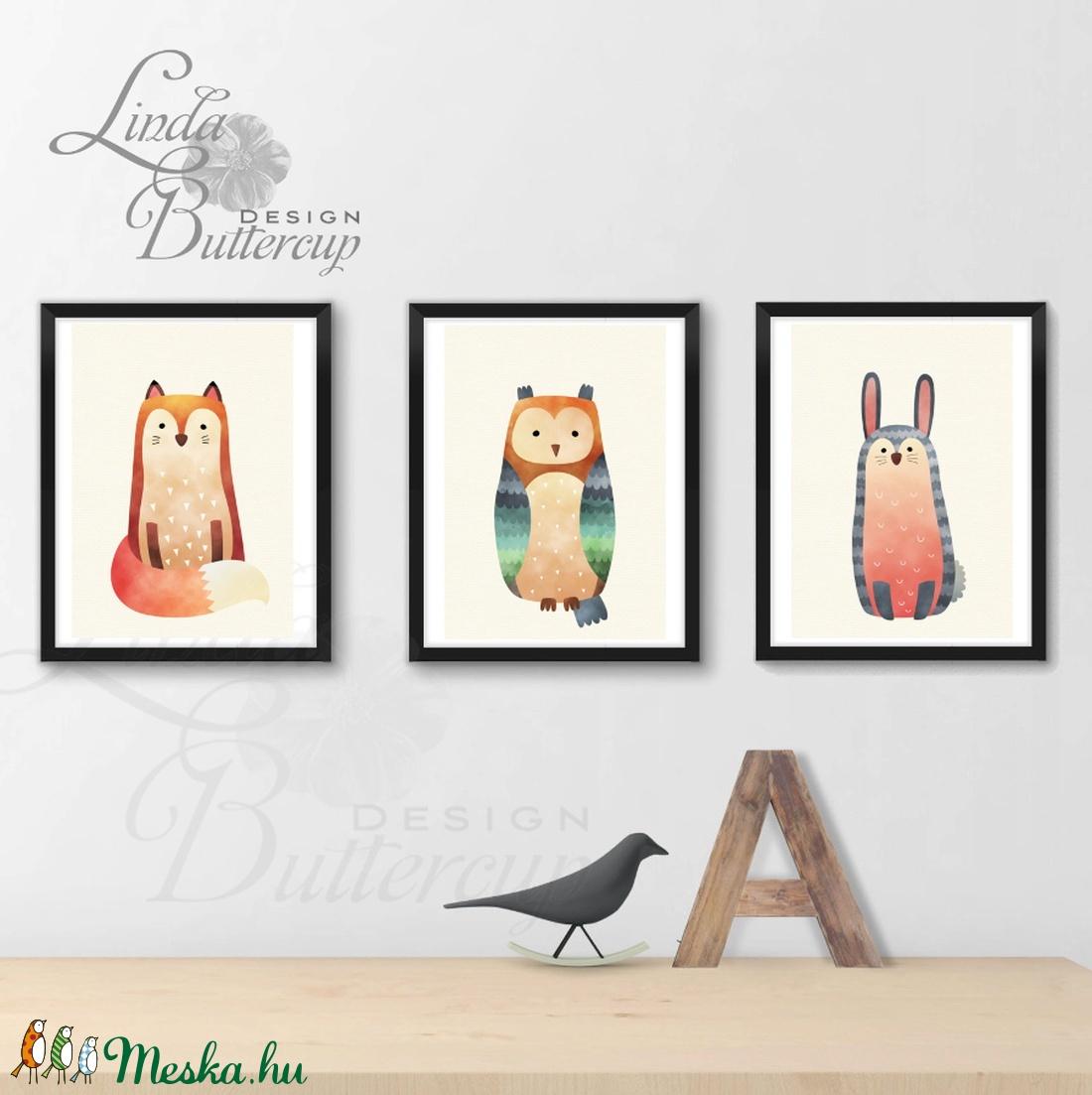 Babaszoba Dekoráció, Állatok festmény, Erdei állat, vad állatok falikép, Gyerekszoba dekor, medve, mókus, majom - otthon & lakás - dekoráció - falra akasztható dekor - Meska.hu