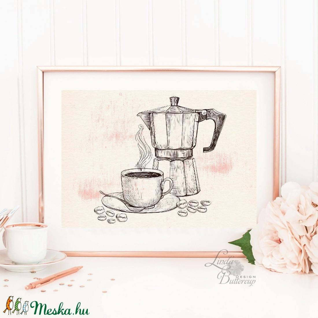 Kávé Print A4, Konyhai falikép, Konyha dekoráció, Espresso, Kávézó, Coffee, idézet, Iroda dekor, Office, barna, vintage (LindaButtercup) - Meska.hu