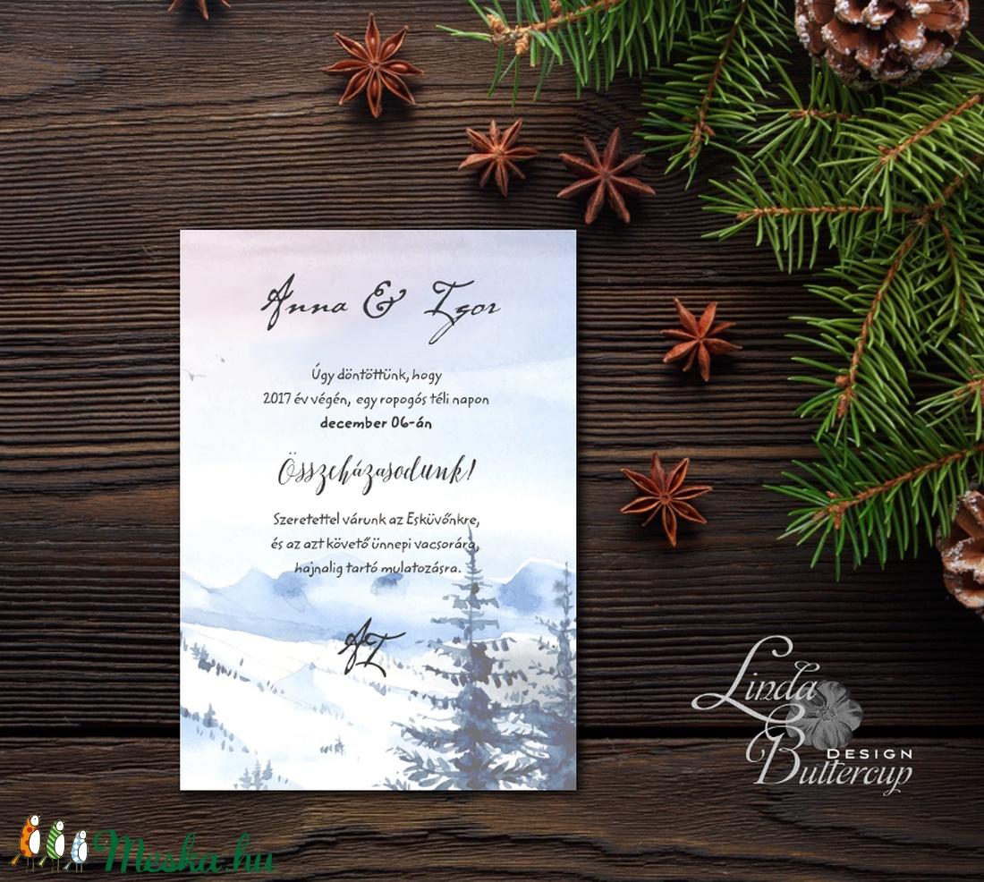 Téli meghívó, Téli Esküvő, Hó, Hópehely, Télitáj, Karácsonyi meghívó, karácsonyi képeslap, lap, december, fenyő, céges (LindaButtercup) - Meska.hu