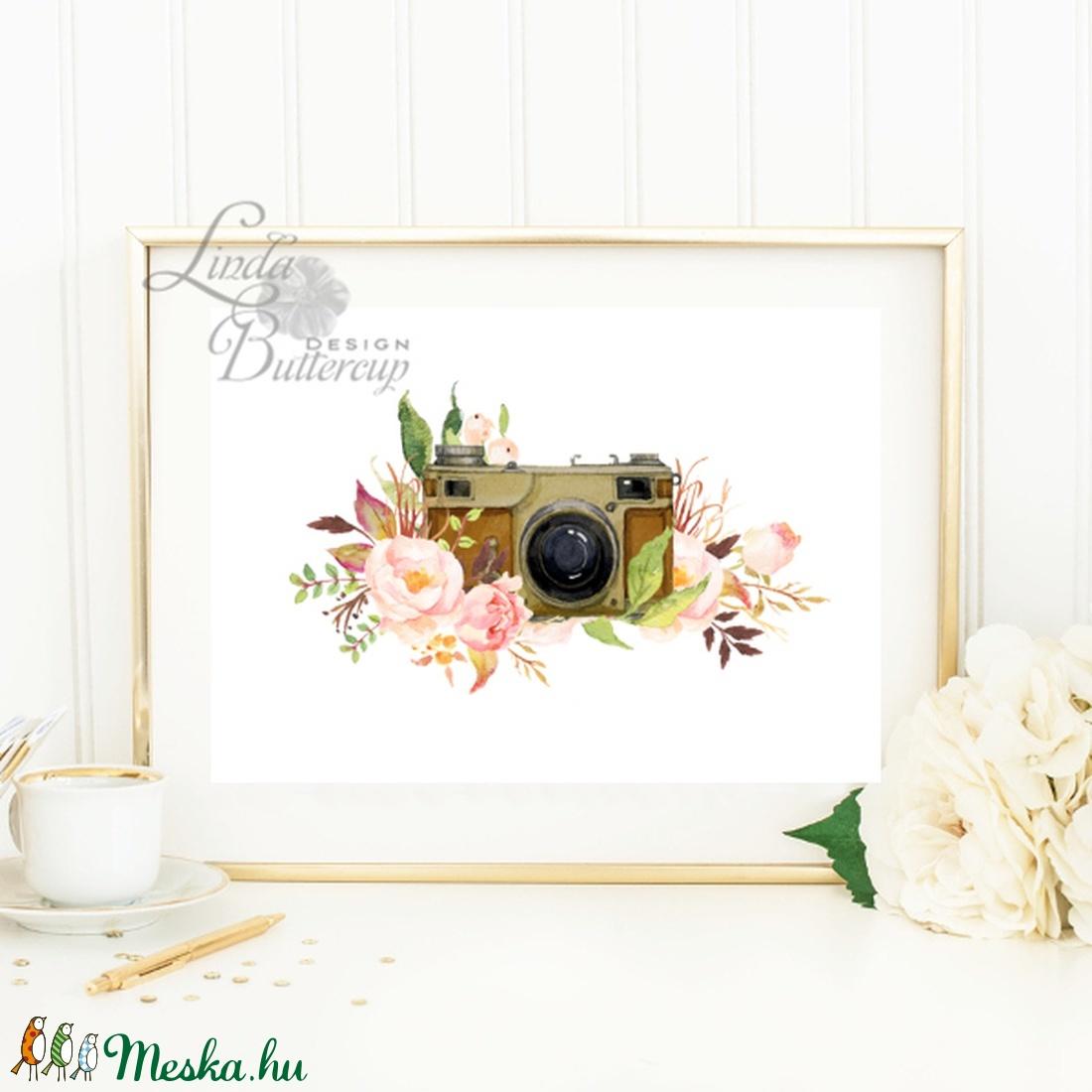 Camera, A4 Print, kamera, fotós, fotográfus, Fényképezőgép, Falikép, bohó, bohém, hálószoba dekoráció, ajándék, kép (LindaButtercup) - Meska.hu