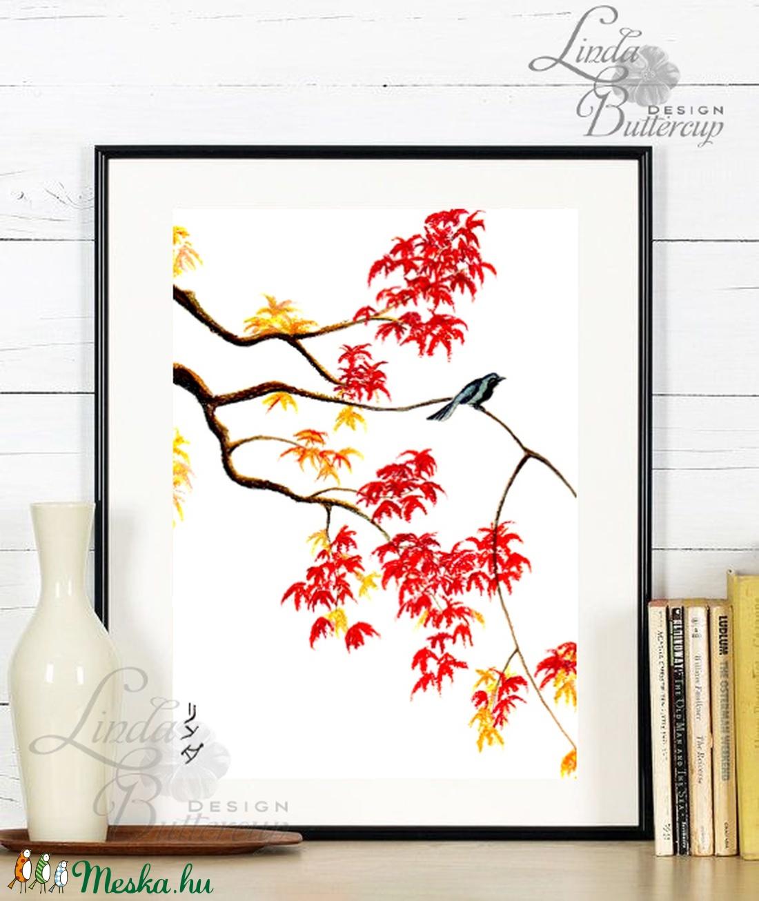 Japán kép, Keleti dekoráció, Falikép, japán festmény, vörös, juhar, kína, bonsai, fa, őszi festmény, ősz, madár - otthon & lakás - dekoráció - kép & falikép - Meska.hu