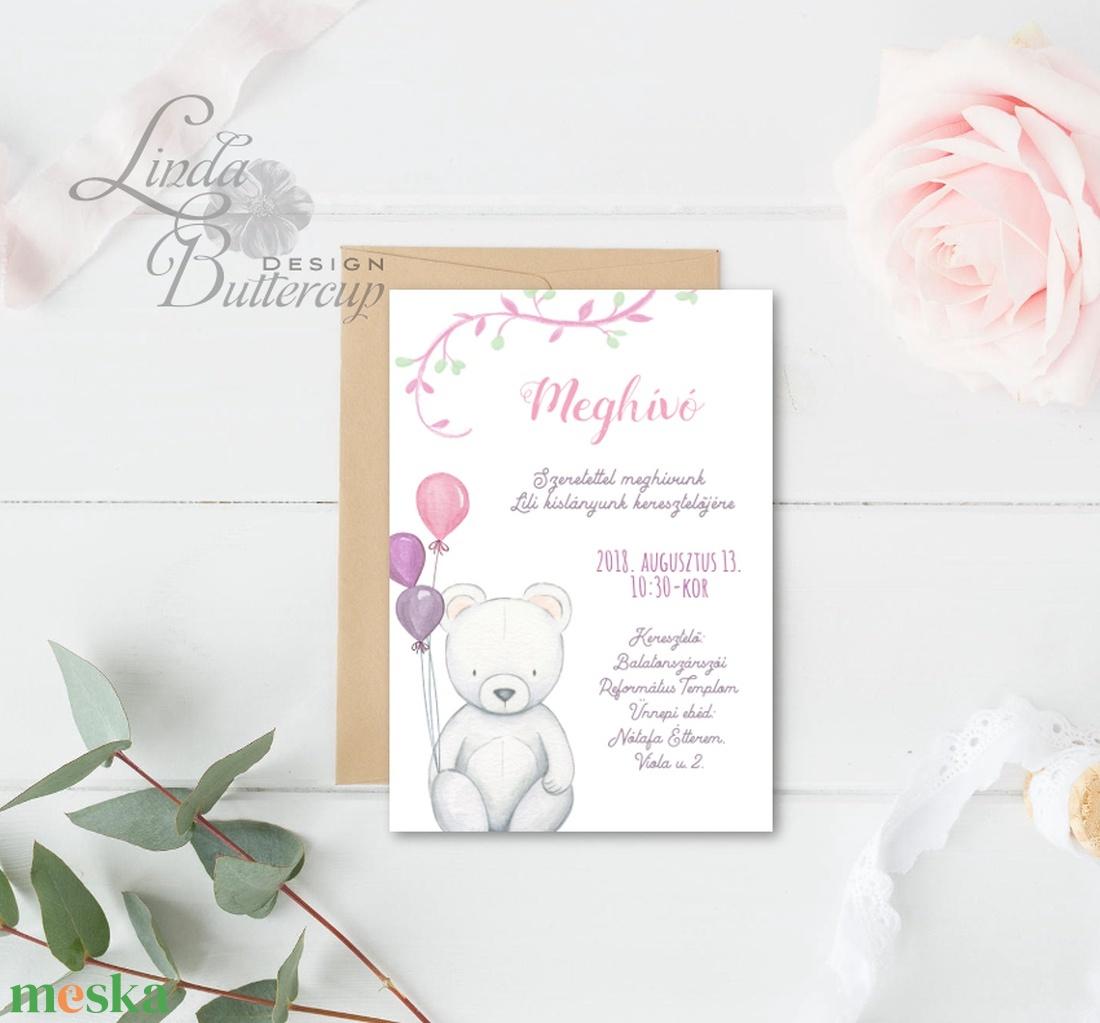 Szülinapi meghívó, maci, Babaváró képeslap, Babaköszöntő, Keresztelő, kislány, baba, baby, újszülött, zsúr, buli, medve - otthon & lakás - papír írószer - képeslap & levélpapír - Meska.hu