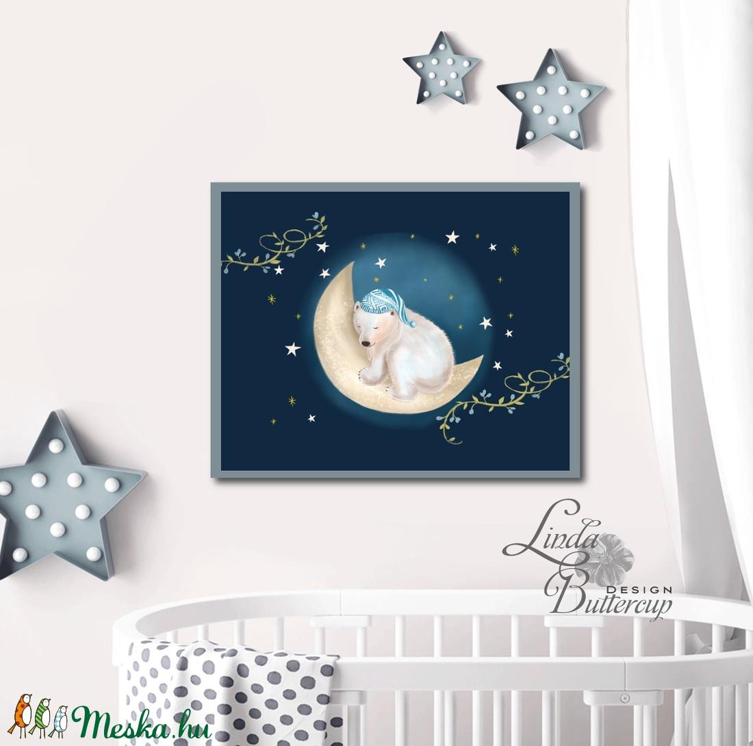 Feszített vászon kép, babaszoba, Falikép, Karácsony, Szülinap, otthoni dekoráció, kép, medve, maci, hold, csillag, álom - otthon & lakás - dekoráció - kép & falikép - Meska.hu