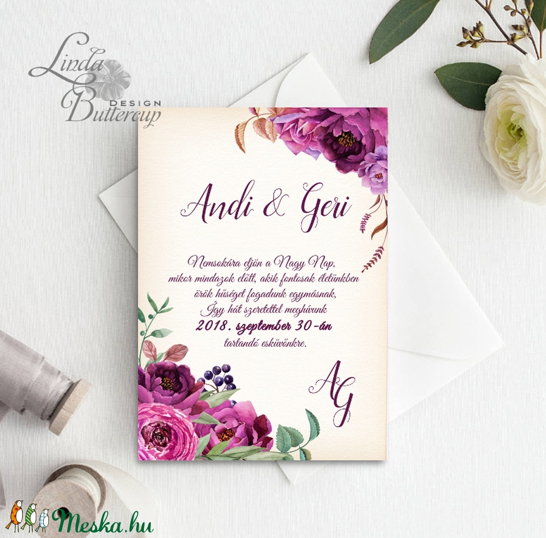 Virágos Esküvői meghívó, Virágos Esküvői lap, Esküvő Képeslap, rózsa lap,  rózsaszín meghívó, bazsarózsa, rózsás - esküvő - meghívó & kártya - meghívó - Meska.hu