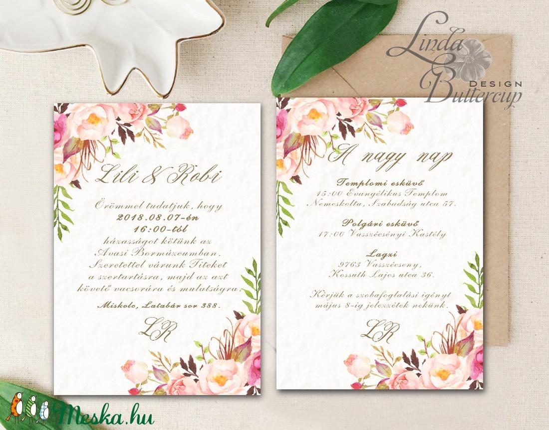 Virágos Esküvői meghívó, Virágos Esküvői lap, Esküvő Képeslap, rózsa lap, virágkoszorú, pink, bazsarózsa, rózsás - esküvő - meghívó & kártya - meghívó - Meska.hu