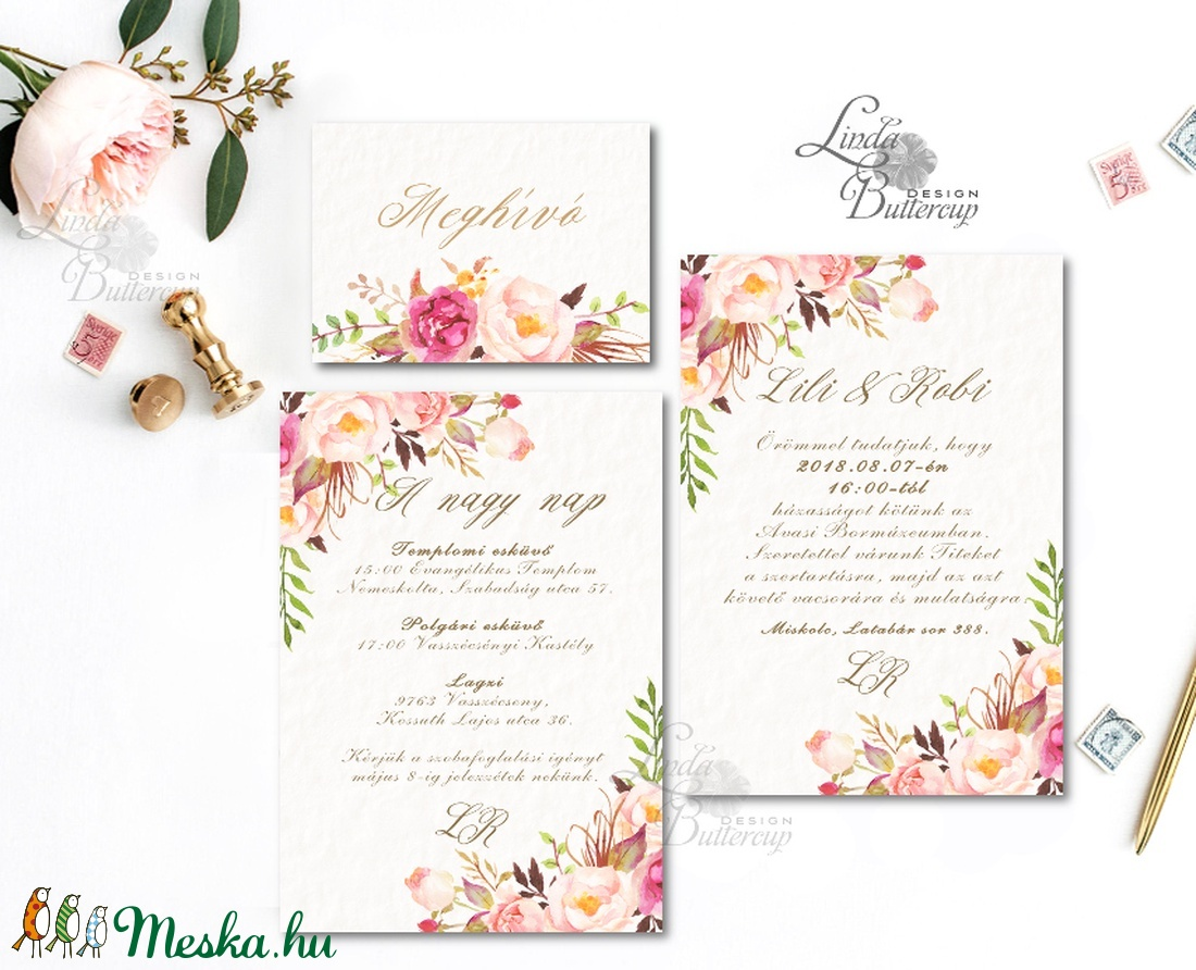 8ab244bd11 Virágos Esküvői meghívó, Virágos Esküvői lap, Esküvő Képeslap, rózsa lap,  virágkoszorú, ...