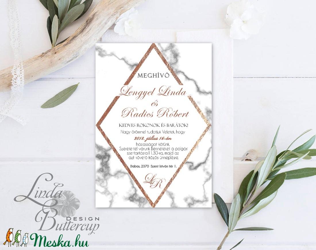 Geometrikus Modern Esküvői meghívó, Márvány meghívó, marble, bronz, geometriai forma, Esküvői lap, rombusz, krém, gold - esküvő - meghívó & kártya - meghívó - Meska.hu