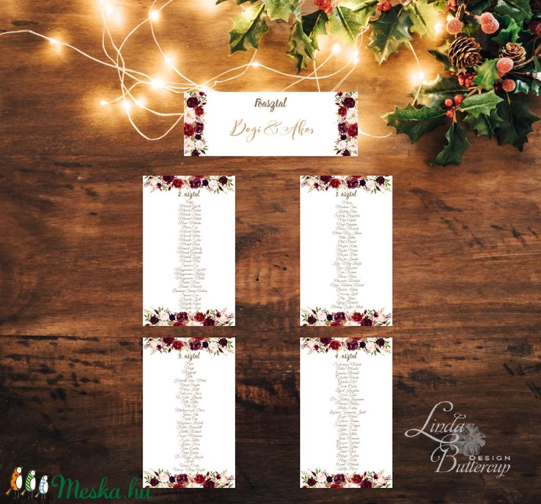 Ültetési rend, Asztalszámok, Esküvői ültetésirend, Ültetők, Ültetésrend, Esküvő dekor, Esküvő ültető kártya, rózsa, őszi (LindaButtercup) - Meska.hu