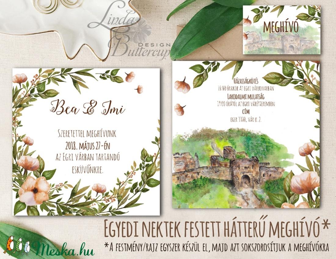 EGYEDI FESTETT HÁTTERŰ Rusztikus Esküvői meghívó, Virágos, szőlő, bor, natúr, eger, egri vár, vadvirágos tavaszi meghívó - esküvő - meghívó & kártya - meghívó - Meska.hu