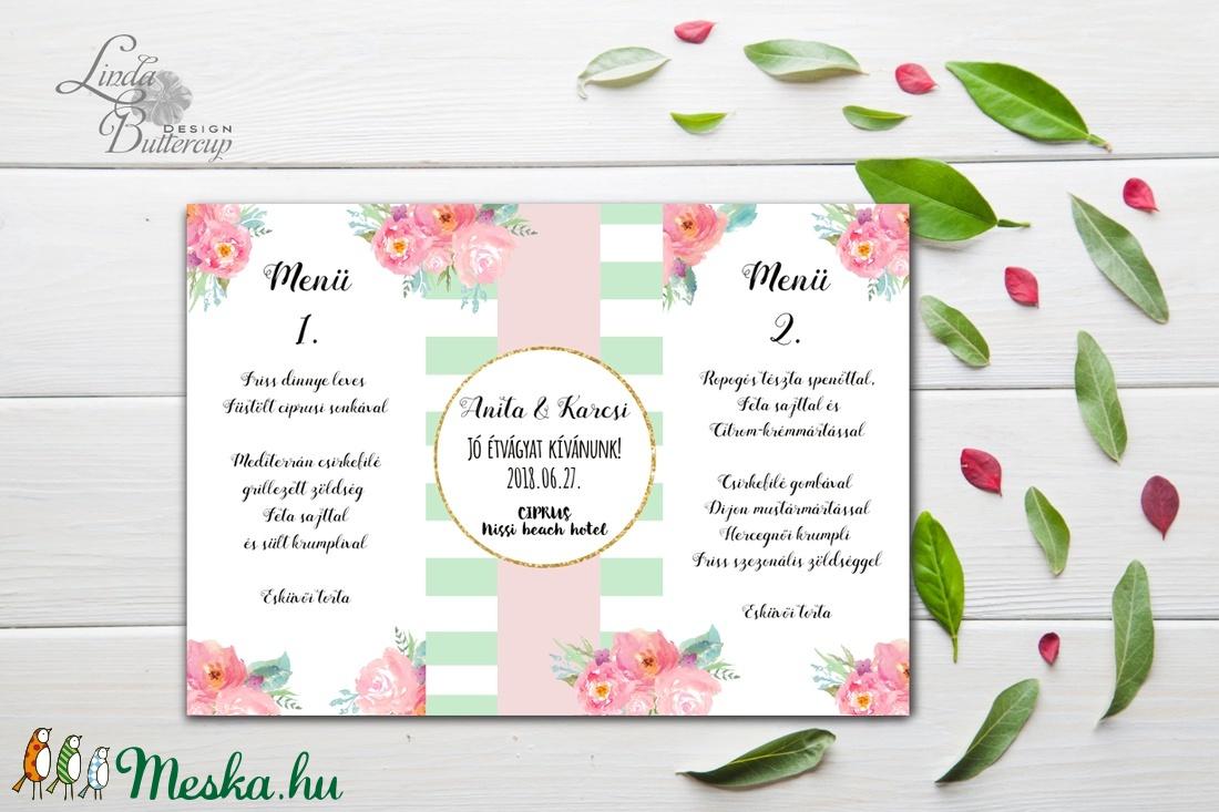 b40200dbb4 Pasztell pink, Mályva Virágos Menü, Asztalszám, Rózsás Virágos Esküvői lap, Esküvői  menü ...