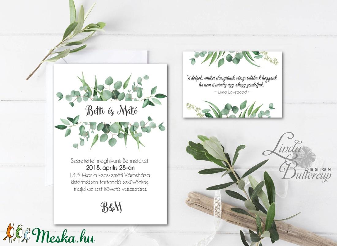 Greenery Meghívó, zöld Esküvői meghívó, eukaliptusz, silver coin, zöld leveles, levél, natúr meghívó, természetközeli - esküvő - meghívó & kártya - meghívó - Meska.hu