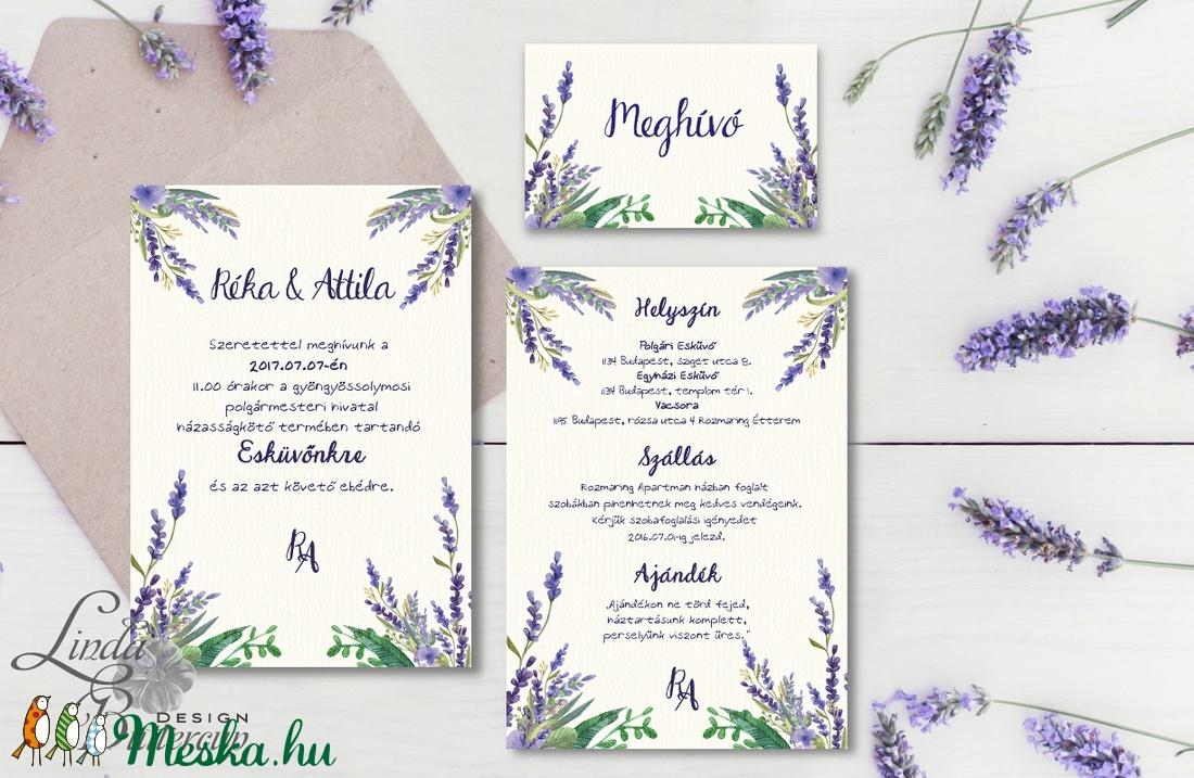 c863a0109c Levendula Virágos Esküvői meghívó, Pajta Esküvő, falu, Vintage Esküvői lap,  vadvirág, ...