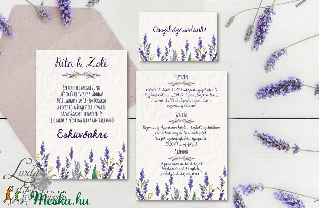 Levendula Virágos Esküvői meghívó, Pajta Esküvő, falu, Vintage Esküvői lap, vadvirág, Rusztikus, Bohém, lila, réti, rét - esküvő - meghívó & kártya - meghívó - Meska.hu