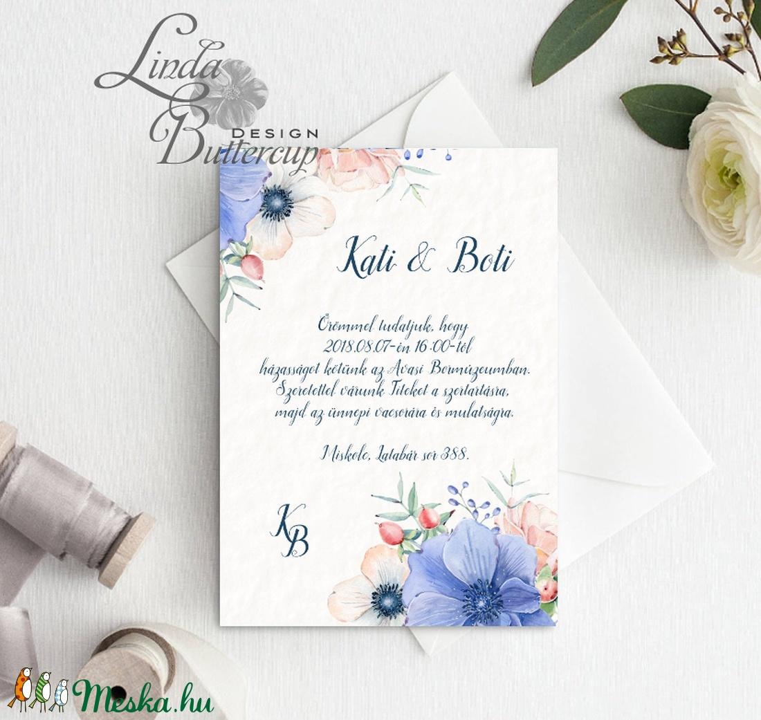 Kék Virágos Esküvői meghívó, Nyári Esküvő, rózsa, elegáns, romantikus, tavaszi, virágos meghívó, rózsás, pasztell - esküvő - meghívó & kártya - meghívó - Meska.hu