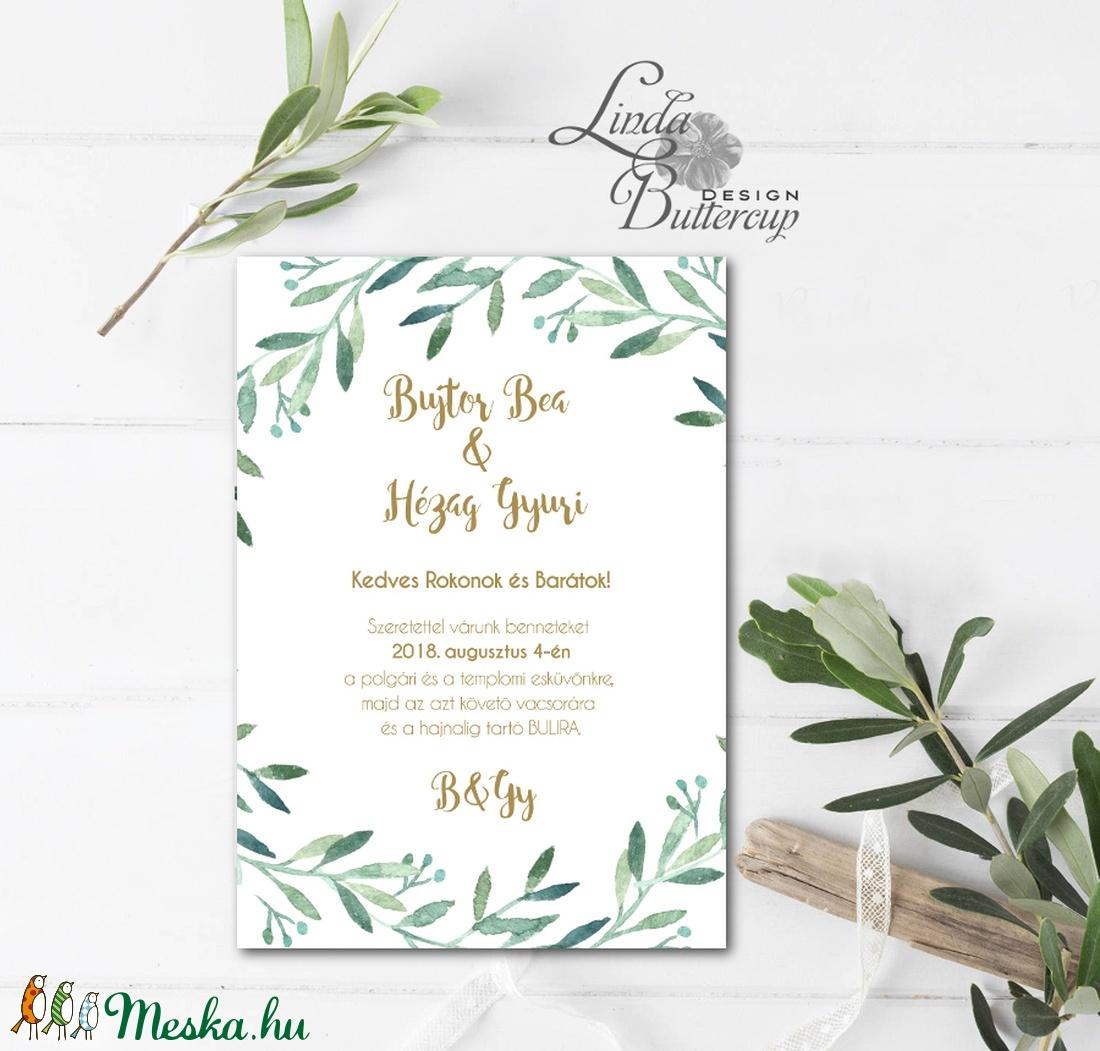 Levélkoszorú Meghívó, Greenrey, Bohó Esküvői meghívó, eukaliptusz, zöld leveles, levél, natúr meghívó, természetközeli - esküvő - meghívó & kártya - meghívó - Meska.hu