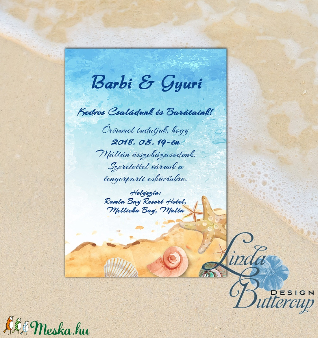 Nyári Esküvői Meghívó, Tengerparti meghívó, Nyári esküvő, Nyaralás, tengerpart, tenger, tengericsillag, kék, türkiz - esküvő - meghívó & kártya - meghívó - Meska.hu