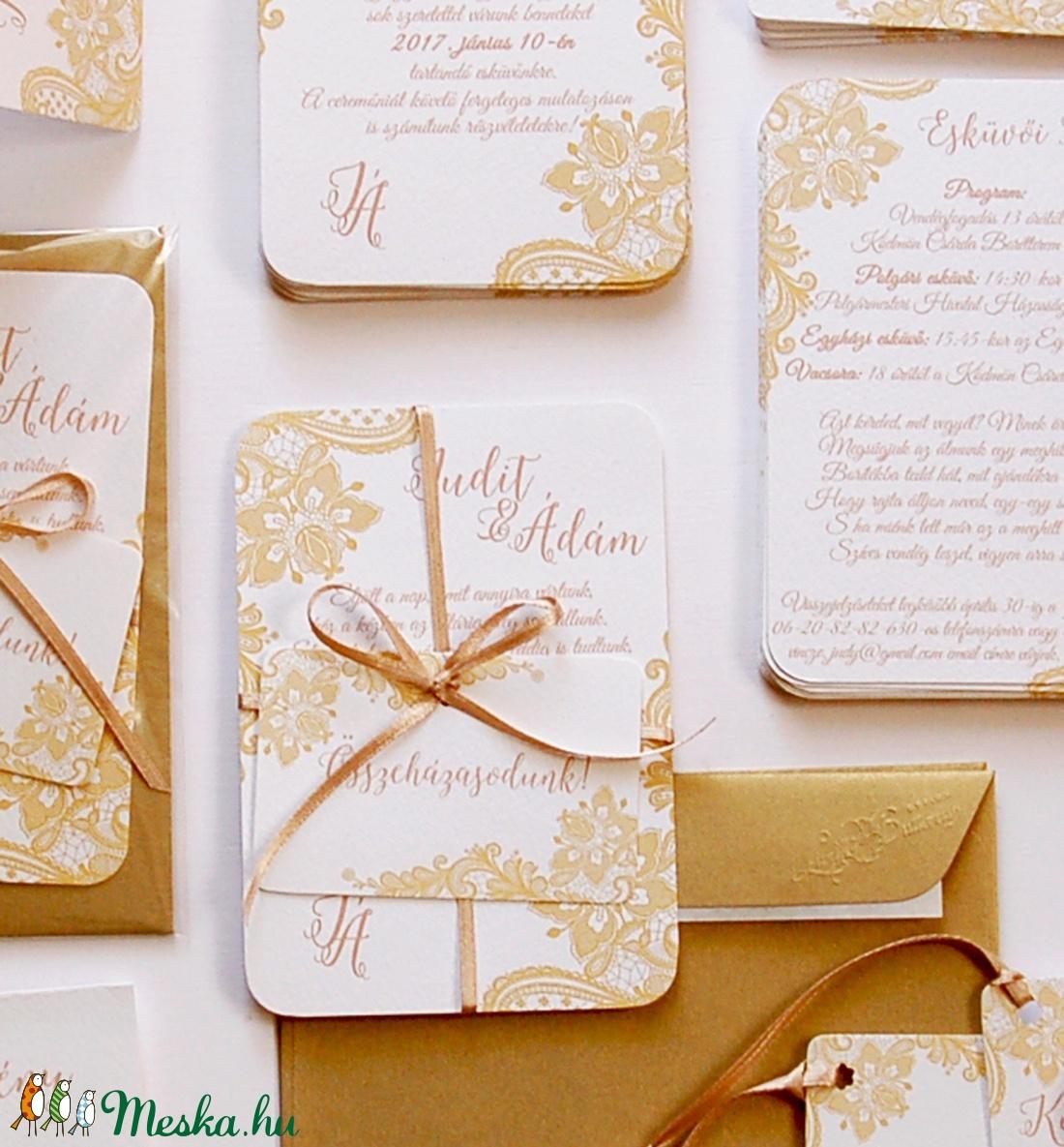 517a7bf624 Csipkés Esküvői meghívó szett 3 darabos+boírték, Elegáns meghívó, Vintage  Esküvő, Arany, Csipke meghívó, Romantikus