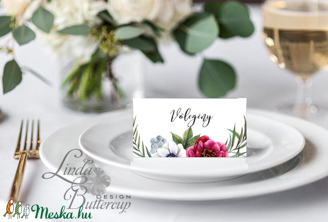 Esküvői ültetőkártya, ültető, Rózsás virágos ültetők, ültetésirend, hely kártya, név tábla, bordó, burgundy, őszi, ősz - esküvő - meghívó & kártya - ültetési rend - Meska.hu