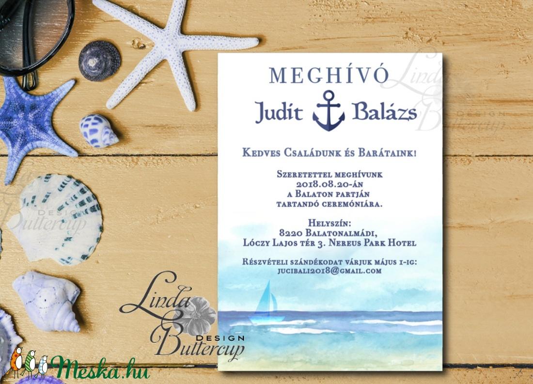 Nyári Meghívó, Tengerész meghívó, tengerész, horgony, vasmacska, tengerpart, tóparti, balaton, vitorlás hajó, homok - esküvő - meghívó & kártya - meghívó - Meska.hu