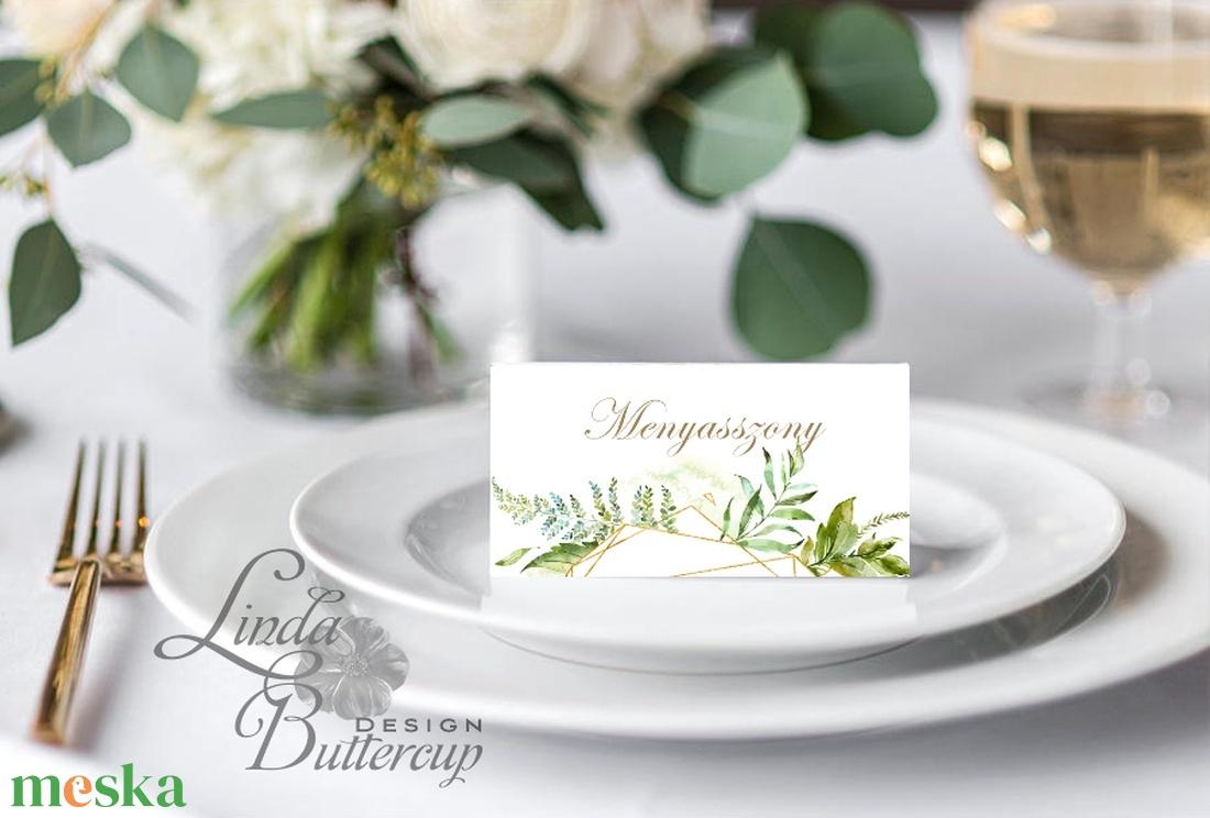 Elegáns ültetőkártya, esküvő, party kártya, dekoráció, Esküvői ültető, natúr, geometrikus, arany,  letisztult, greenery  - esküvő - meghívó & kártya - ültetési rend - Meska.hu