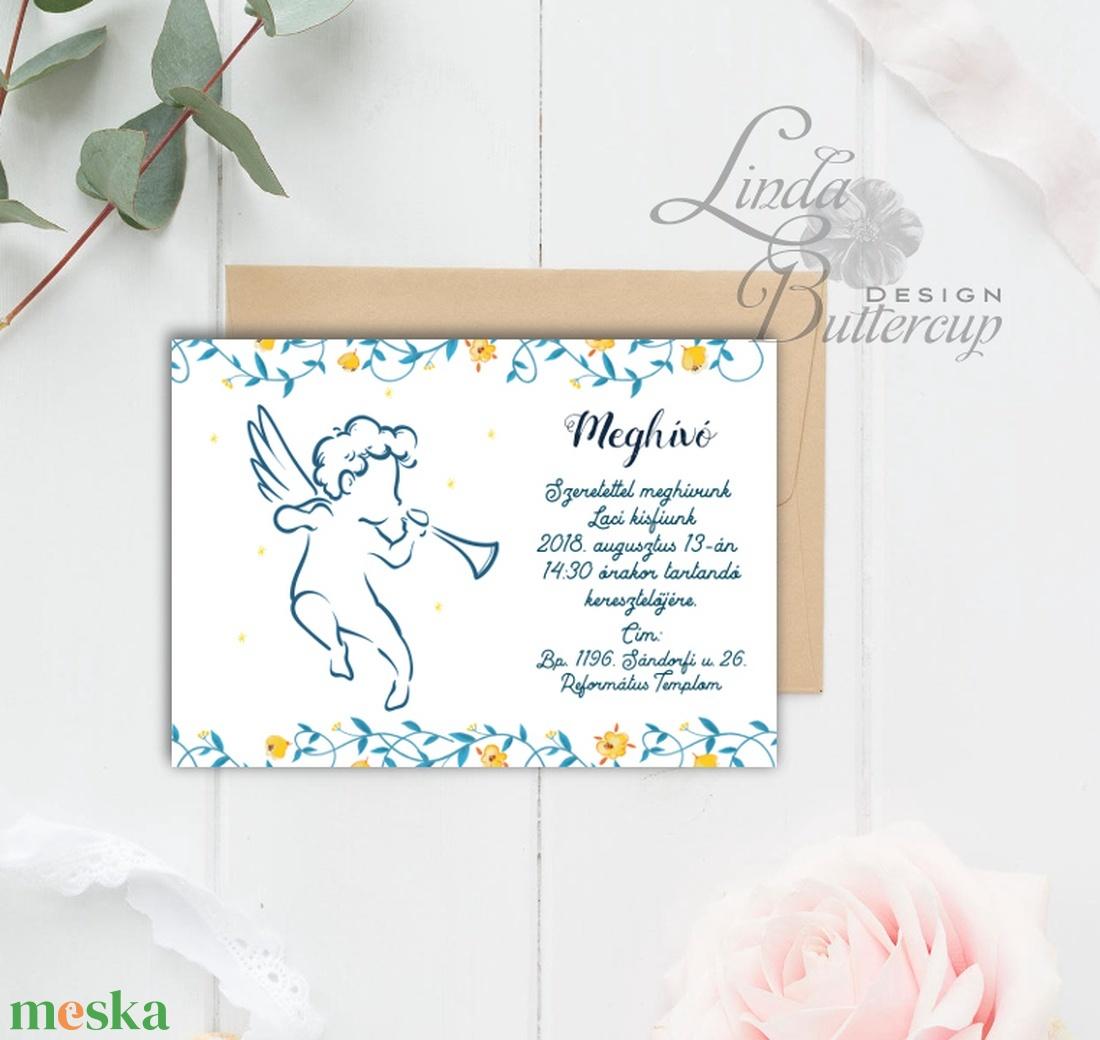 Keresztelő Meghívó, angyal, angyalos, angyalka, virágos, csillag, vadvirág, réti, zöld leveles, levél, natúr meghívó - játék & gyerek - 3 éves kor alattiaknak - Meska.hu