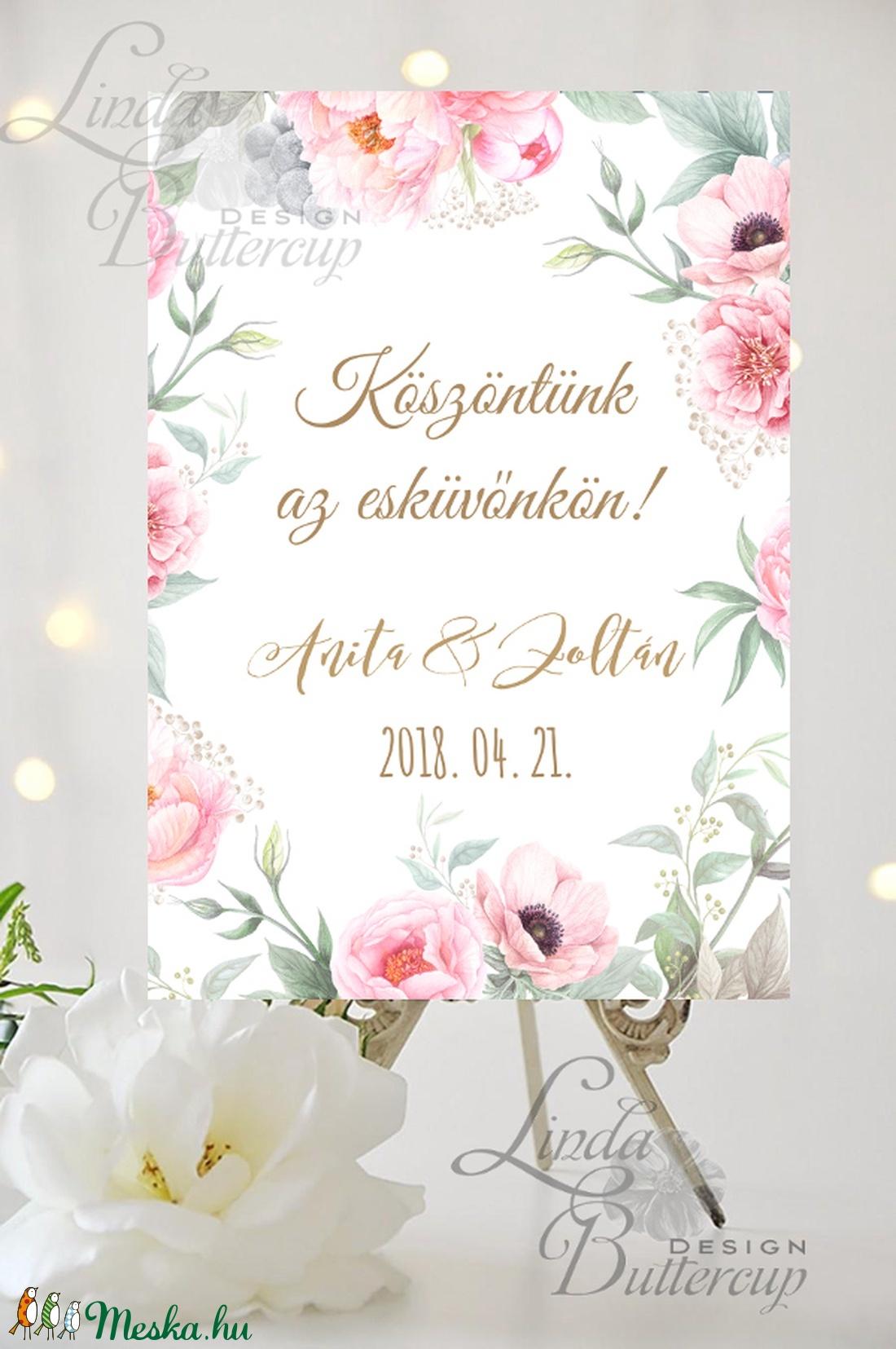 Esküvői Poszter A3, Esküvői kép, Esküvő Dekor, Felirat, Tábla, Vintage, Elegáns, Virágos, Rusztikus, Welcome, vendégváró (LindaButtercup) - Meska.hu