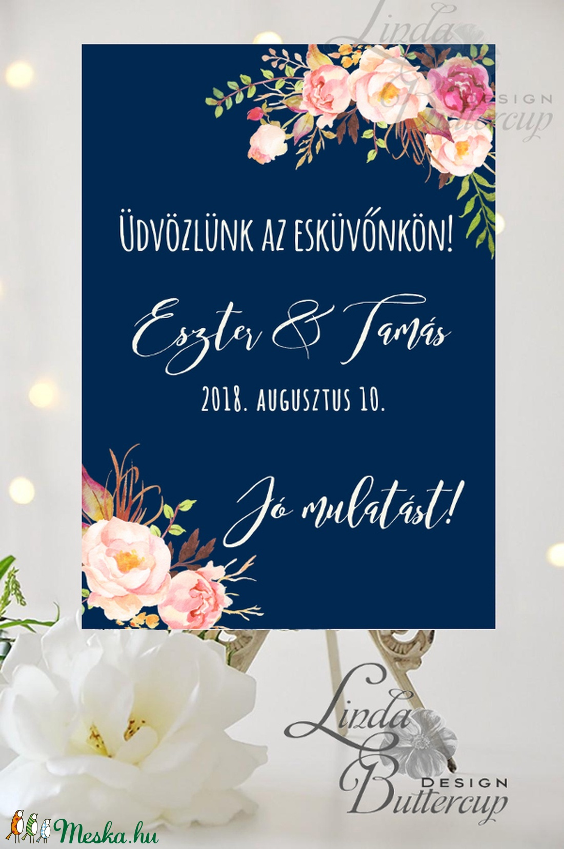 Esküvői Poszter A3, Esküvői kép, Esküvő Dekor, Felirat, Tábla, Vintage, Elegáns, Virágos, Rusztikus, Welcome, vendégváró - Meska.hu