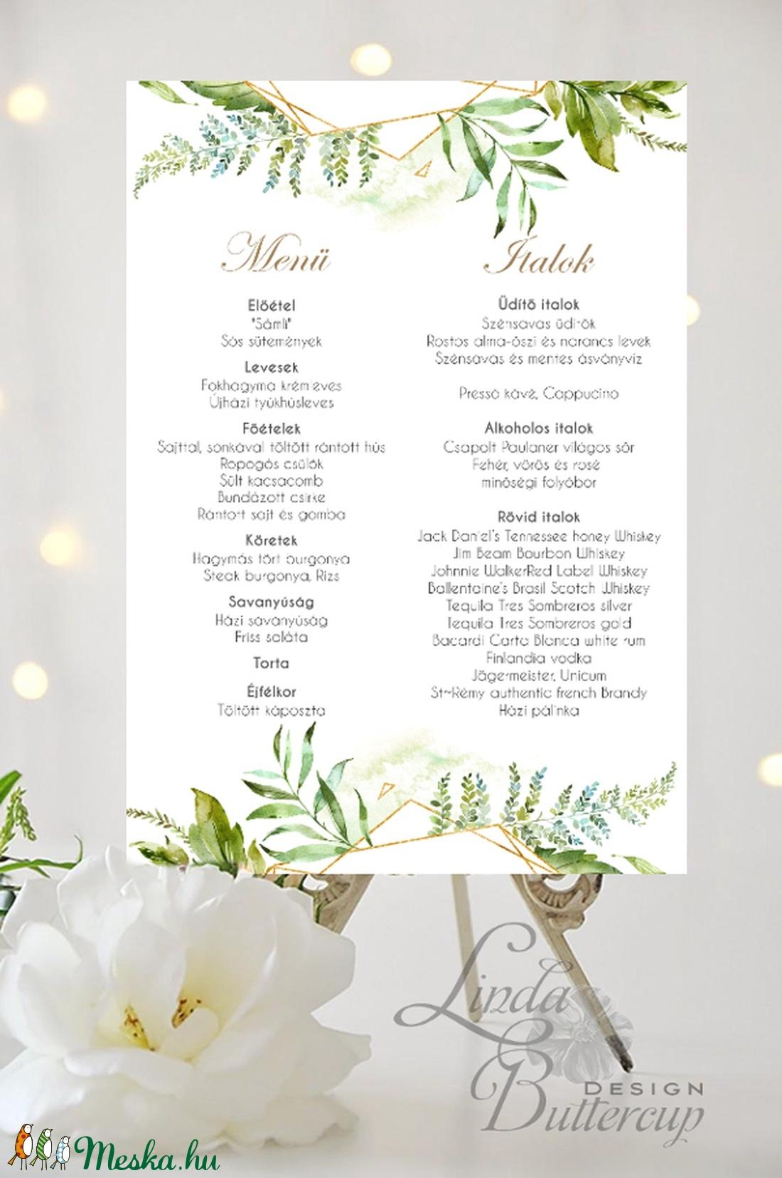 Esküvői Poszter A3, Esküvő menü, Esküvő Dekor, Felirat, Tábla, Vintage, Elegáns, geometrikus, greenery étlap, vendégváró (LindaButtercup) - Meska.hu