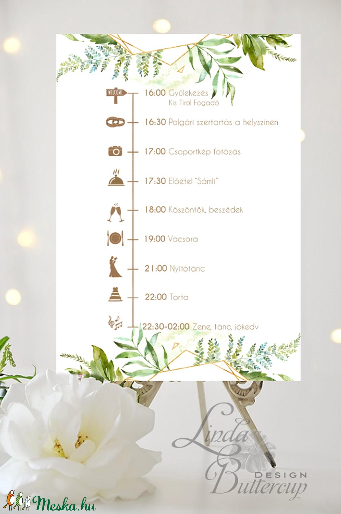 Esküvői Poszter A3, program, Esküvő Dekor, Felirat, Tábla, Vintage, Elegáns, geometrikus, greenery program, vendégváró (LindaButtercup) - Meska.hu