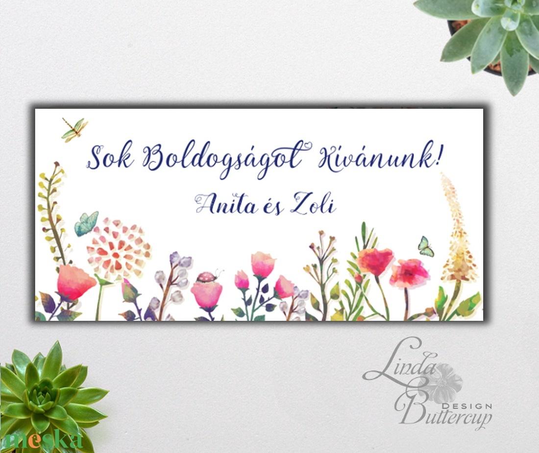 Pénzátadó boríték, Rétivirágos, Nászajándék, Gratulálunk képeslap, Esküvői Gratuláció, mező, rét, pénz átadó lap, virág - esküvő - emlék & ajándék - nászajándék - Meska.hu