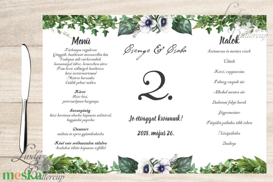 7b828a2ec7 Esküvői Menü, Greenery, esküvői dekoráció, borostyán, eukaliptusz, natúr, menüsor, itallap, italok, asztalszám, menü