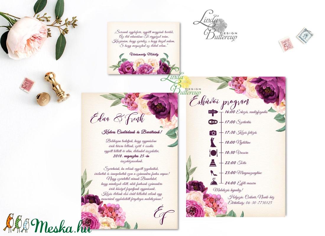 Bordó Esküvői meghívó, Burgundy, Őszi Rózsás meghívó, rózsa, elegáns, romantikus, virágos, őszi meghívó, padlizsán - esküvő - meghívó & kártya - meghívó - Meska.hu