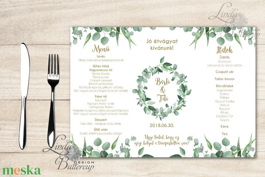 Esküvői Menü, menüsor, itallap, italok, asztalszám, greenery, zöld leveles, természetközeli, eukaliptusz - esküvő - meghívó & kártya - menü - Meska.hu