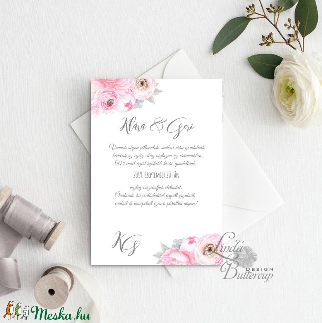 Virágos Esküvői meghívó, Virágos Esküvői lap, Esküvő Képeslap, virágkoszorú, pink, bazsarózsa, rózsás, virágos meghívó - esküvő - meghívó & kártya - meghívó - Meska.hu