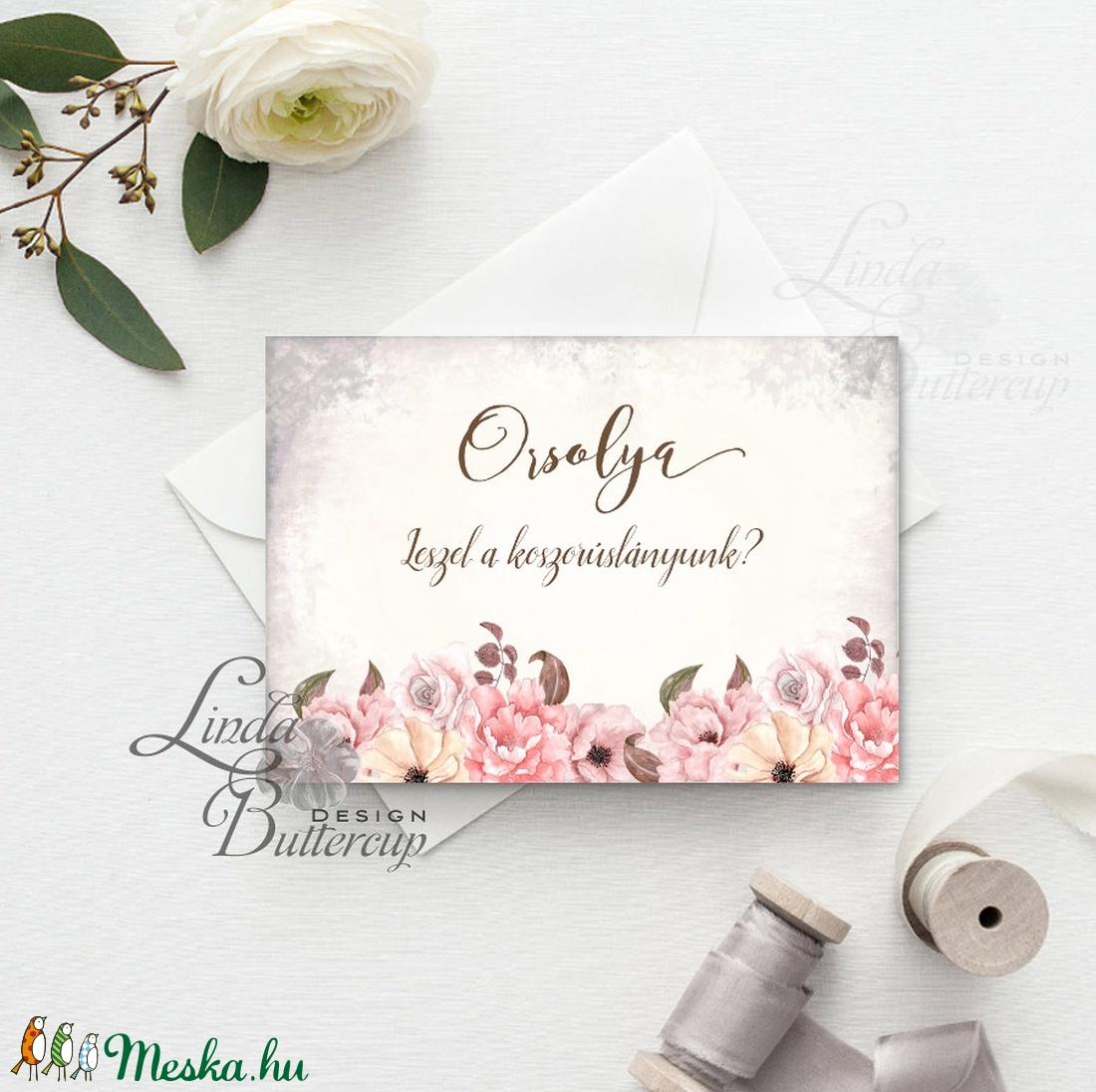 Koszorúslány felkérő lap, Tanú felkérő lap, Esküvői Képeslap, virágos, natúr, esküvői meghívó, tanú, esküvő - esküvő - meghívó & kártya - meghívó - Meska.hu