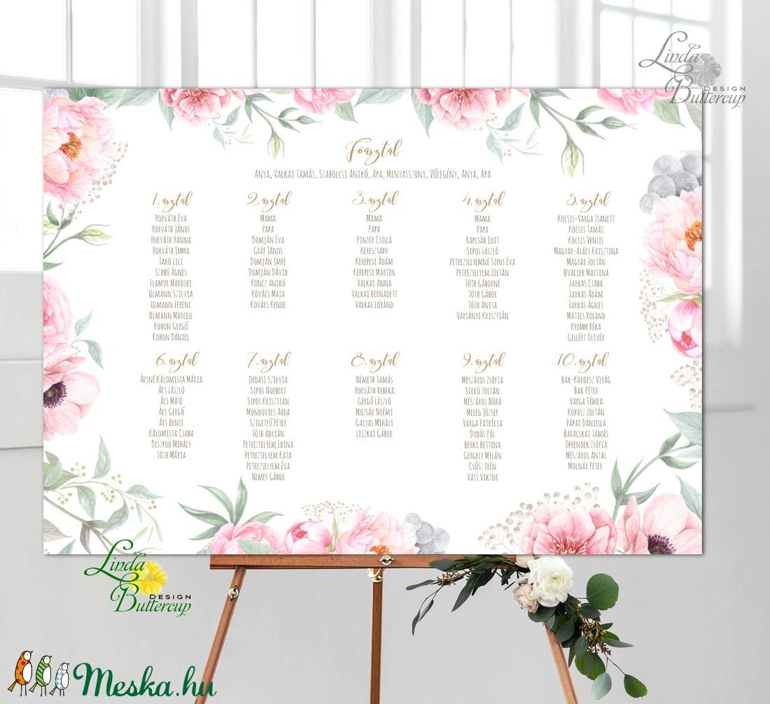 Modern Ültetési rend, Esküvői ültetésirend, Ültetők, Ültetésrend, virágos, rózsaszín, nyugalmas, romantikus - esküvő - meghívó & kártya - ültetési rend - Meska.hu