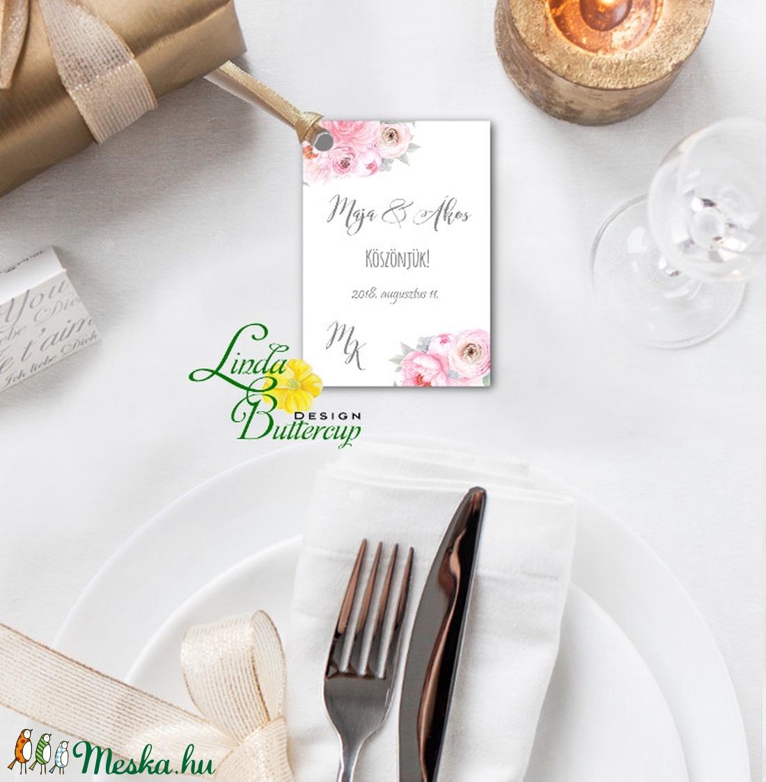 Köszönet kártya, ajándékkísérő,köszönet ajándék, esküvői kísérőkártya, köszönjük, virágos, romantikus, rózsaszín - esküvő - emlék & ajándék - köszönőajándék - Meska.hu