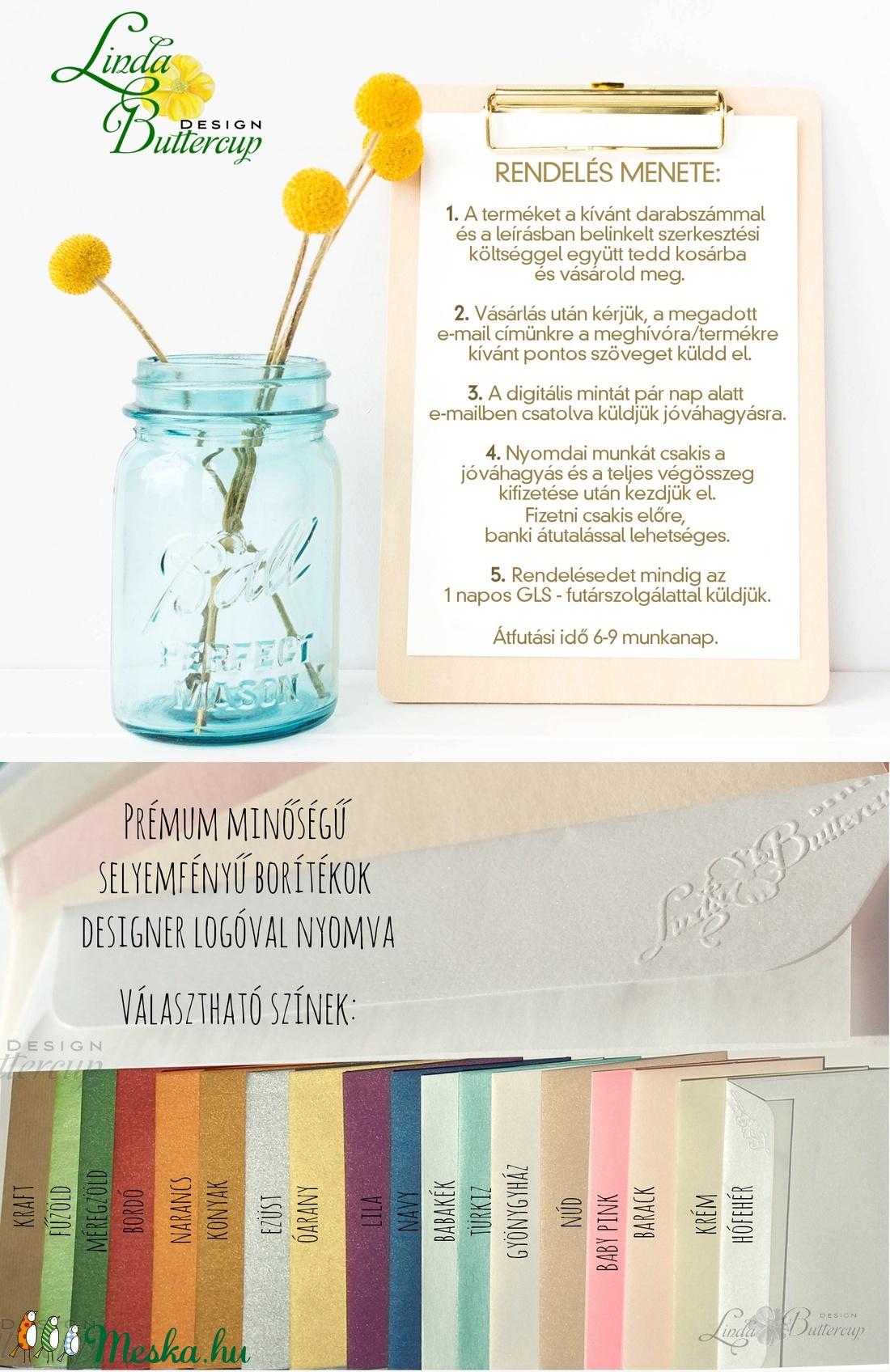 Esküvői meghívó, virágos, természetközeli, virágkoszorú, romantikus, falevél, fűzfa - esküvő - meghívó & kártya - meghívó - Meska.hu