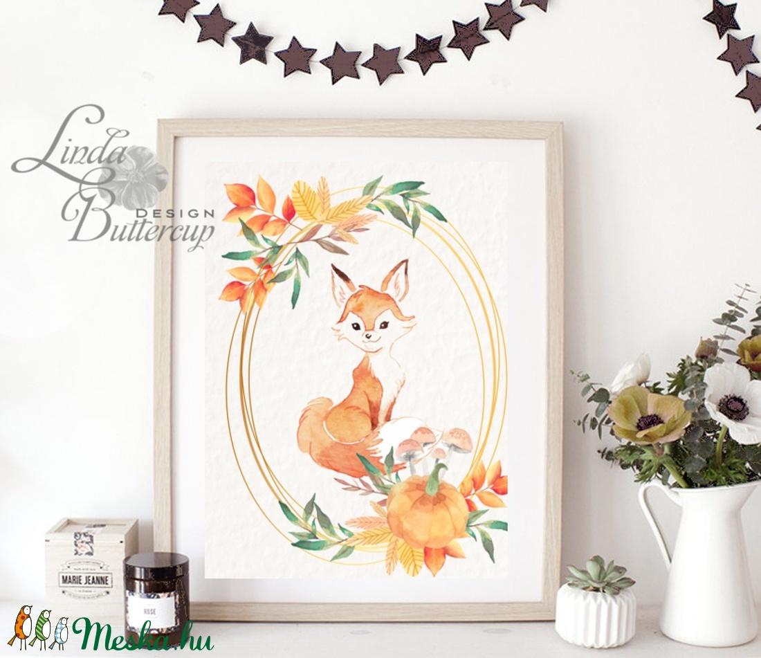 Őszi falikép, őszi dekoráció, róka, Babaszoba Falikép, Róka festmény, Gyerekszoba kép, dekoráció, erdei állat, rókás, - otthon & lakás - dekoráció - kép & falikép - Meska.hu