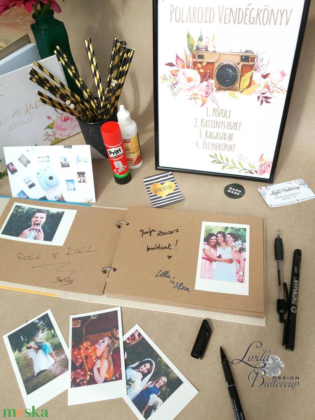 Esküvői Emlékkönyv, gyűrűs fotó mappa Vendégkönyv, virágos könyv, virág, elegáns, rózsás, rózsaszín, arany, rosegold - esküvő - emlék & ajándék - vendégkönyv - Meska.hu