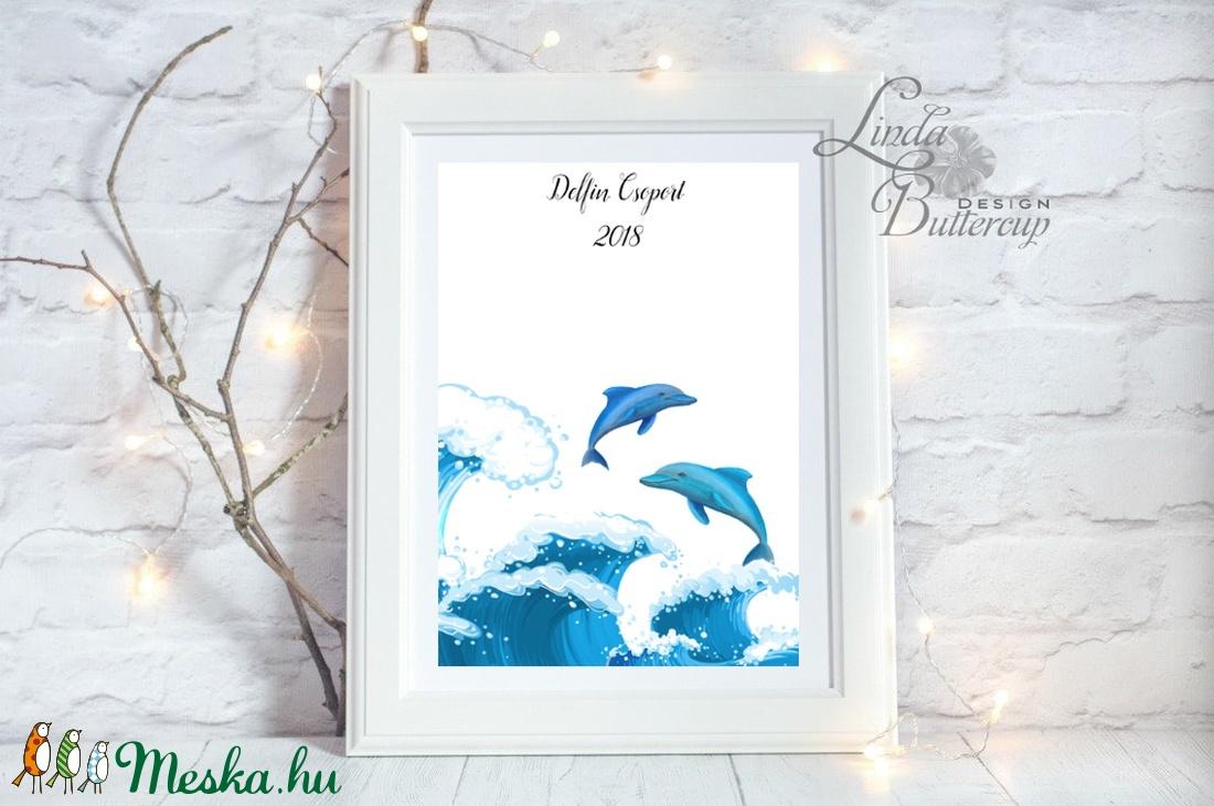 Ujjlenyomat kép, Delfin, A3, Esküvői, Ovis csoport, tánccsoport, tenger, hullám, delfines kép, festmény (LindaButtercup) - Meska.hu