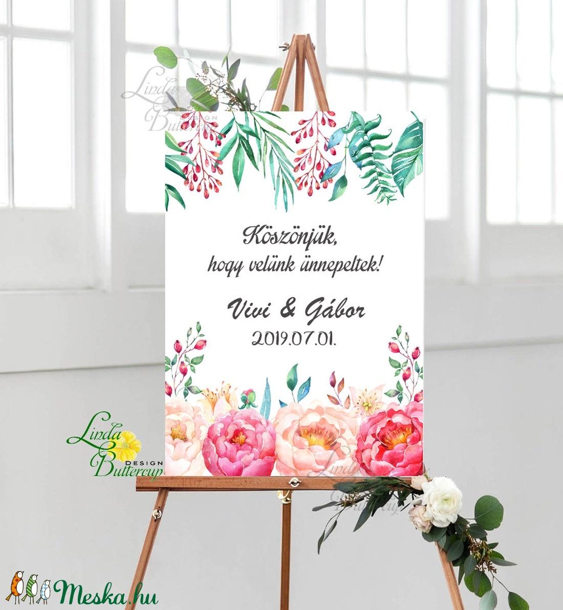 Esküvői Poszter A3, Esküvői kép, Esküvő Dekor, Felirat, Tábla, virágos, romantikus, köszönjük felirat - esküvő - dekoráció - tábla & jelzés - Meska.hu