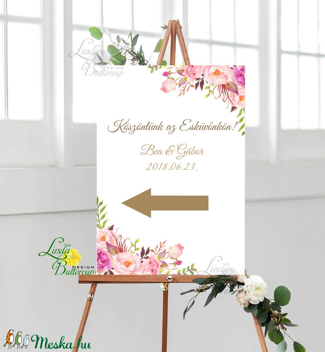 Esküvői Felirat A2, Köszöntő, Üdvözlő, idézet, romantikus, természetközeli, üzenet, virágos, trendi - esküvő - dekoráció - tábla & jelzés - Meska.hu