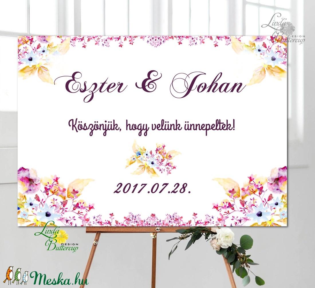 Esküvői Poszter A3, Esküvői kép, Esküvő Dekor, Felirat, Tábla, romantikus, köszönjük felirat, üdvözlő - esküvő - dekoráció - tábla & jelzés - Meska.hu