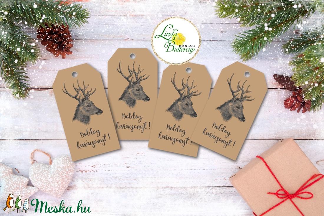 Vintage Karácsonyi Ajándékkísérő, újrahasznosított papír, Ünnepi kiskártya, ajándék, natúr, kraft, szarvas, agancs - otthon & lakás - papír írószer - ajándékkísérő - Meska.hu