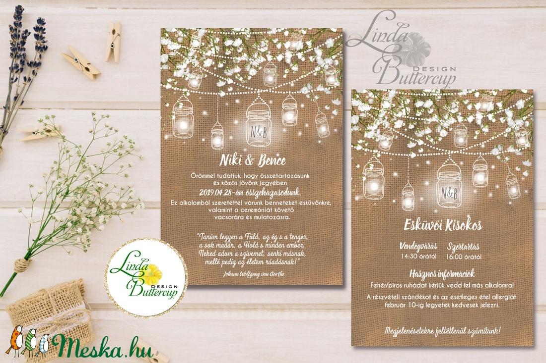 Fehér Virágos Esküvői meghívó, Esküvő, falu, Vintage Esküvői lap, lámpás, zsákvászon, burlap, Rusztikus, Bohém,  - esküvő - meghívó & kártya - meghívó - Meska.hu