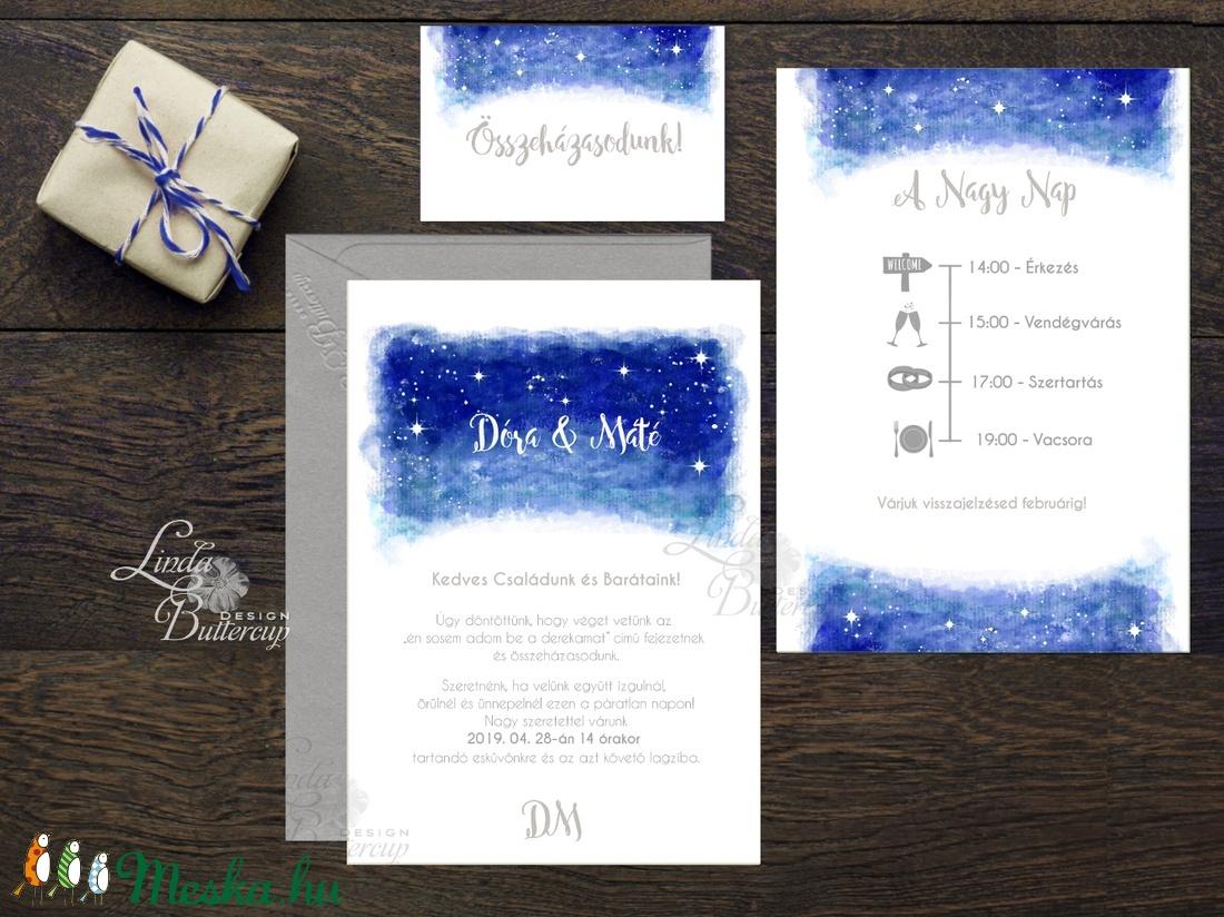 Esküvői meghívó, Esküvő, egyedi Esküvői lap, égbolt, csillagok, fehér, csillagos, égboltos, romantikus, kék, elegáns, ég - esküvő - meghívó & kártya - meghívó - Meska.hu