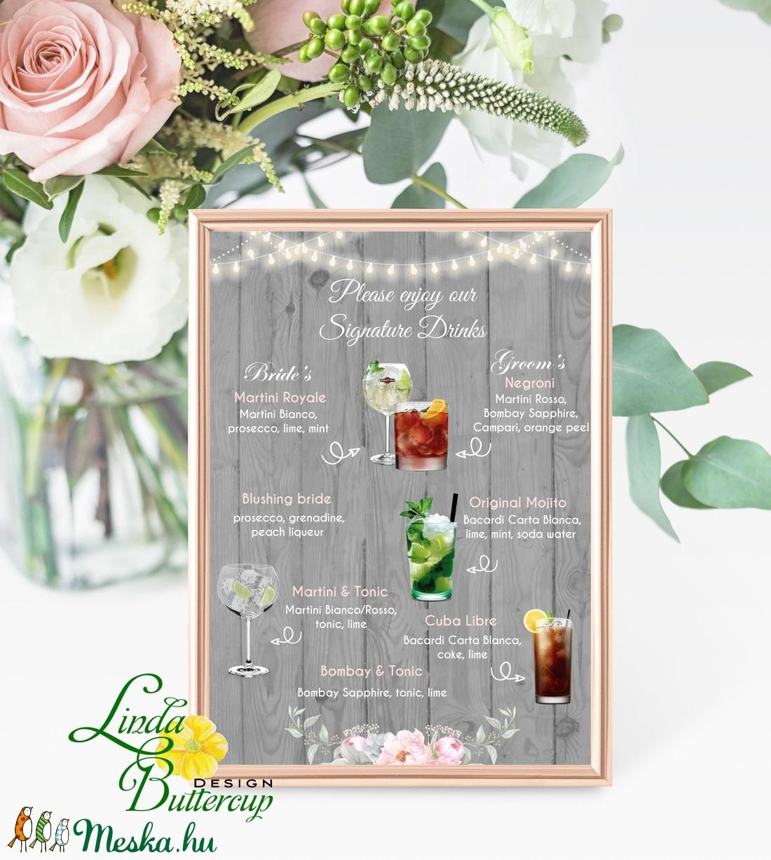 Esküvői Bár menü, koktélbár Dekoráció, Esküvői felirat A4, dekor, Felirat, Poszter, Esküvő, Vintage, Rusztikus, tábla (LindaButtercup) - Meska.hu