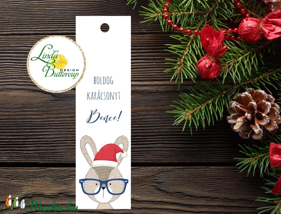 Karácsonyi Könyvjelző, állatos, Adventi ajándék, Vintage nyuszi Karácsonyi üdvözlőlap, Ünnepi lap, Vintage, fenyőfa (LindaButtercup) - Meska.hu
